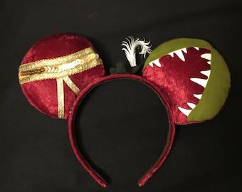 New*** Captain Hook Ears, Custom Captain Hook Mickey Ears, Disney Inspired Minnie Ears