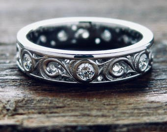 Diamond Wedding Ring in Platinum with Fine Scroll Work Size 4