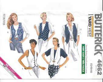 Butterick 4662 Pattern for Misses' 1 Yard Vest, Size 12-14-16, From 1990, FACTORY FOLDED and UNCUT, Vintage Pattern, Home Sewing Pattern