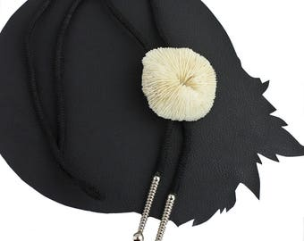 Dry Sea Sponge Western Bolo Tie with Black Cord and Silver Aglets