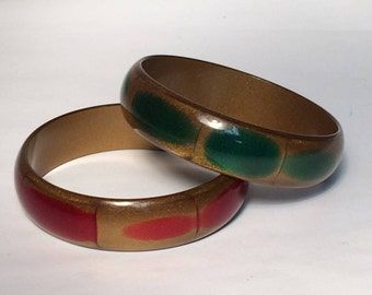 Vintage Green and Gold Glitter Lucite Bangle
