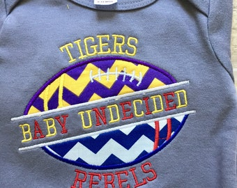House Divided, Baby Undecided,Football Applique Onesie or Tee Pick Your Teams