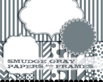 Gray digital paper, scrapbooking gray and white paper, silver circle digital frame, scallop clip art  : p0176 3s4850 IP