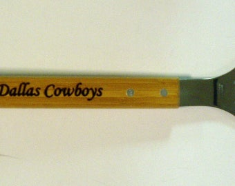 Dallas Cowboys engraved bamboo handled bottle opener and spatula