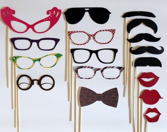 Photo Booth Props. PhotoBooth Props. Mad Men Party. Wedding Photos- Seventeen Photobooth Party Props