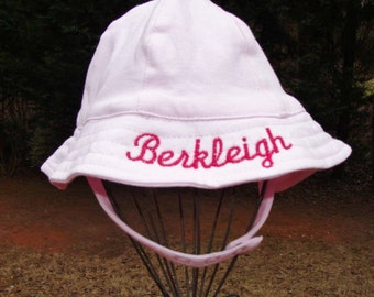 Monogrammed Infant Sunhat -  Baby Pink Sun Hat