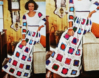 Crochet Granny Squares Afghan Dress - Vintage Pattern - PDF Instant Download - Long Patchwork Gown - Peek a Boo Sun Dress - Digital Pattern