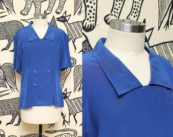 Cobalt Blue Silk Top // 80s Short Sleeve Wide Collar Double Breasted Silky Blouse Size 10 Medium