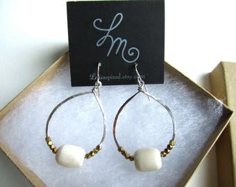 White Bone and Geometric Brass Trade Beads on Hammered Hoop Sterling Silver Earrings by LM-inspired