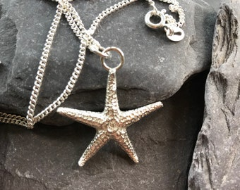 Starfish Pendant, Sterling Silver Sand Cast, with a Sterling Silver Curb Chain