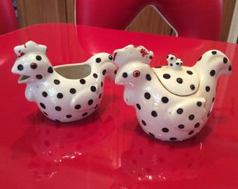 Vintage Rooster and Hen Creamer and Covered Sugar