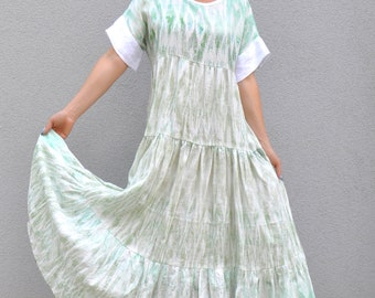 New Natural Linen Dress/Long Hooded dress/Daywear dress/Long extravagant dress/Light green dress/Long caftan/Summer dress/Party dress/D1811