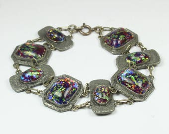 Vintage Boho Engraved Silver Rainbow Glass Bracelet