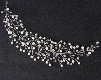 SAMANTHA - Silver Pearl Wedding Bridal Hair Vine