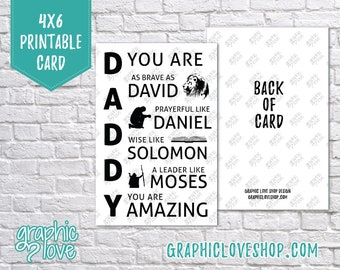 Printable 4x6 Biblical Daddy You Are Father's Day Card -Folded & Postcard | Digital JPG Files, Instant Download, NOT Editable,Ready to Print
