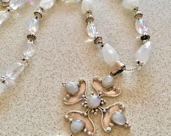 MOONSTONE RAINBOW DELIGHT 66.5cm long crystal necklace