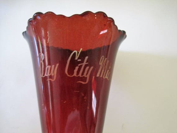 Ruby Flash Glass Vase, 6 Inches Tall,  Red Signed Souvenir,  Bay City Michigan Vase