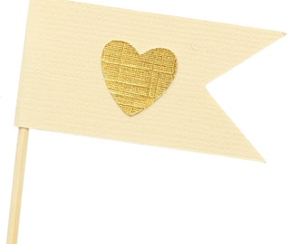 Ivory and Gold Flag Heart Cupcake Toppers / Appetizer Picks / Food Picks /