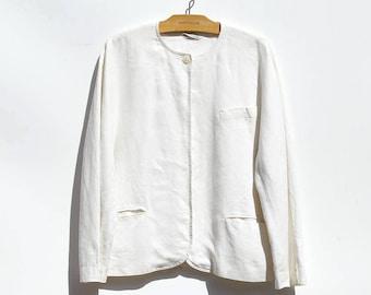 Vintage Off White Linen Minimalist Jacket