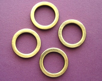 4 Purse Rings Flat Round  Antique Brass  3/4  Inch