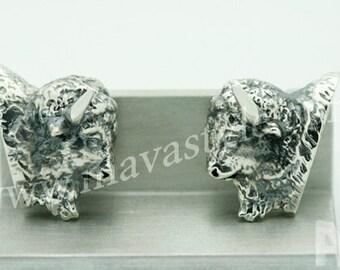 925 Sterling Silver Bison Buffalo Cufflinks Cuff Links