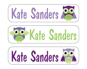 40 Owls Waterproof Kid's Sippy Cup or baby item Labels - Dishwasher Safe - great for food containers, bottles, lunch box, jars Sip008