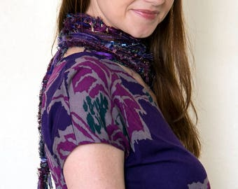 Womens Scarves, Purple Scarf, Skinny Scarves, Fringe Scarf, Bohemian, Boho Scarves, Scarves for Women, Skinny Scarf, Long Scarf