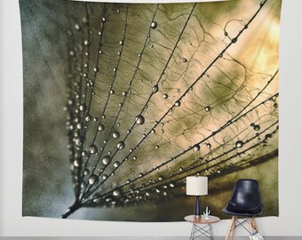 Tearcatcher - Wall Tapestry, Wall Art, Photography, modern, home, nature, fine art, Dorm, inspirational, dandelion,water droplets, garden