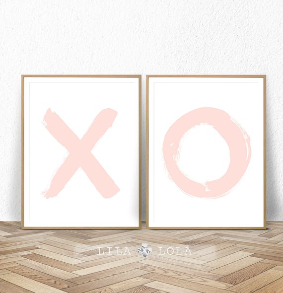 Nursery Wall Art, Girl X O Print Set, Digital Download, Blush Pink Decor, Printable Poster, Girls Nursery Prints, Digital Nursery Printable