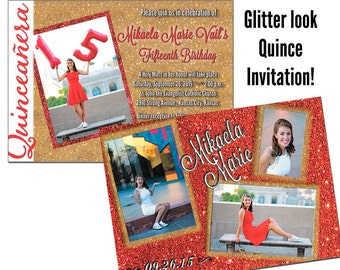 Quinceanera Invitations Glitter Look Sweet 15 Invitation Mis Quince Anos Invitation