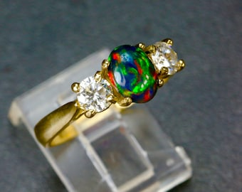 Black Opal &  1/3 carat Diamond Engagement Ring. Gold or Silver. Solid White or Black opal DESIGN 5635