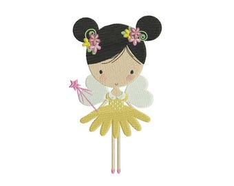 Flower Fairy Doll Machine Embroidery File design 5x7 inch hoop - Flower Fairy 2