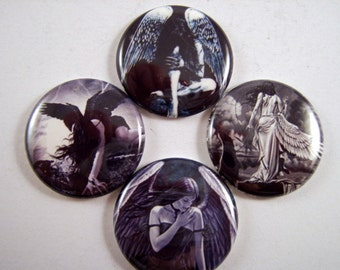 "Angel Magnets, Angel Pins, Dark Angel Magnets, Dark Angel Pins, Mysterious Angels, 1"" Flat, Hollow Bk, Cabochons, 12 ct"