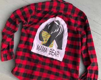 Mama Bear Back Patch Buffalo Plaid Large Flannel MashUp // Upcycled Hunters Plaid Mom Gift
