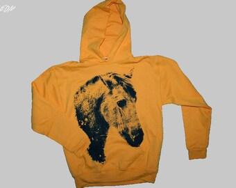 horse, horse hoodie, yellow horse hoodie, horse clothing, gold sweatshirt, horse hoodie, 1AEON gold unisex horse hoodie - size S-XXXL