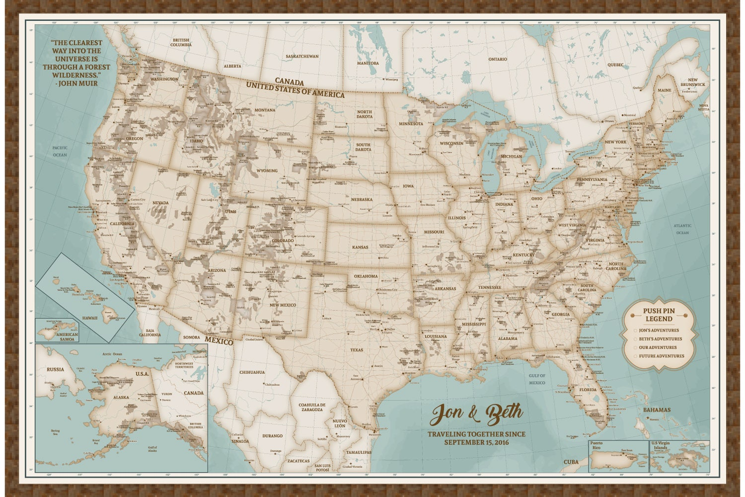 National Park Decor Push Pin Map National Park Map with Pins