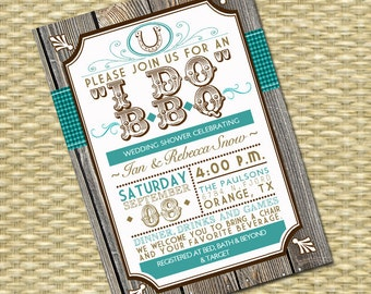 Rustic Country I Do BBQ Bridal Shower Invitation, Couples Shower Invitation, BBQ Invitation, Western Birthday Party Typography Poster