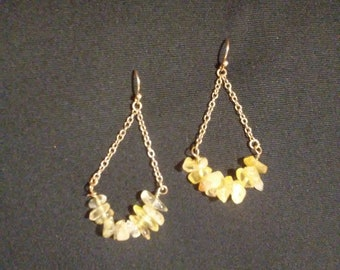 Gold Tone Yellow Stone Chandelier Earrings