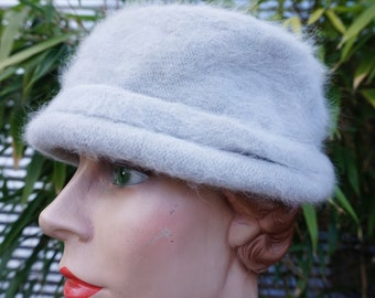 Gorgeous Baby Blue Super Soft Angora and Wool Slouchy Pill Box Hat made by Dasher Angora