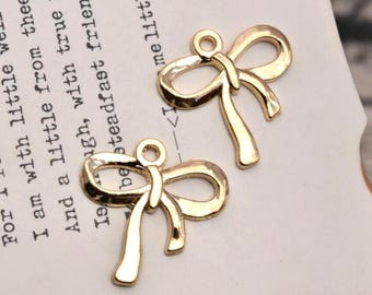 20 bow charms gold bow charm pendants
