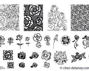 roses 001 - stamping nail art plate by DELANEY