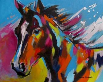 Horse Painting, Equine Art, Equestrian Horse Art, Modern Hose, Horse Lovers, Horse gifts, Animal Fine Art, Contemporary Art, Graffiti Art