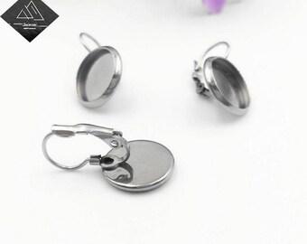 50pcs Surgical Stainless Steel Bezel Earring Blanks-Earring Bezel French Lever Back-Leverback Earring Blank-Round Earring Base Setting-Nsize