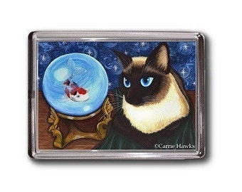 Siamese Cat Magnet Crystal Ball Koi Fish Fortune Fantasy Cat Art Framed Magnet Gofts For Cat Lovers