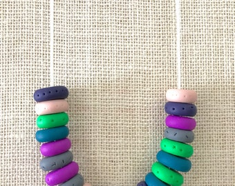 Cream, purple and green handmade polymer clay chunky necklace, 70cm polyester cord with breakaway clasp