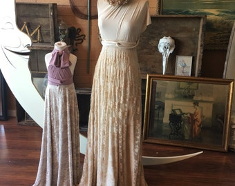 Tea and Ivory Vintage Style Lace Octopus Infinity Wrap Dress- Wedding Gown, Bridesmaids, Maternity, Etc.