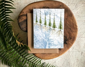 Portland Roots Greeting Card, Portland map and trees illustration card, PNW card,  Rustic blank card