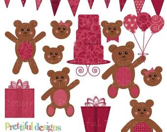 Teddy Bear Clip Art for Digital Scrapbooking, Invitations, Paper Goods, Card Making - Sophie