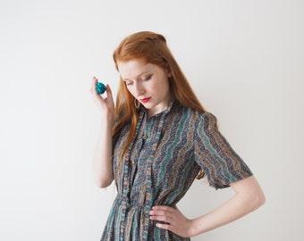 June, Japanese vintage dress, midnight blue, small - medium