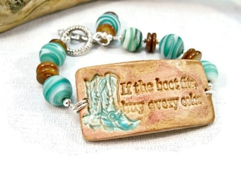 Country Western Jewelry, Pottery Cuff  Bracelet, Cowgirl Bracelet, Rodeo Bracelet, Double Bracelet, Southwestern Bracelet